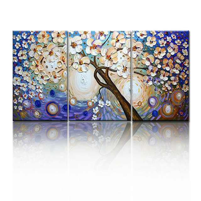 Lucky tree modern abstract oil painting home decor wall art picture flowers on palette thick knife