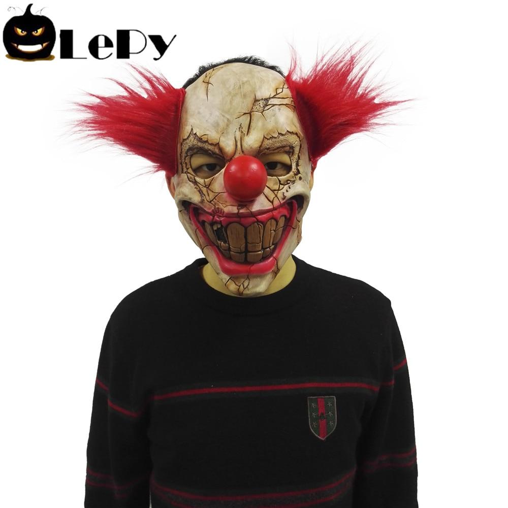 Creepy Clown Halloween Decorations.Us 8 99 Lepy Scary Clown Mask Evil Creepy Horror Cosplay Masquerade Halloween Decoration Masks In Party Masks From Home Garden On Aliexpress Com
