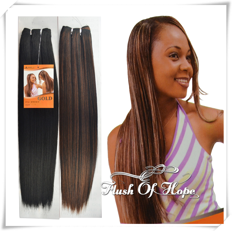18 Inch Noble Gold Better Yaki Straight Synthetic Hair Extensions