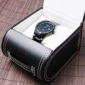Negro de La Moda Caja de Reloj de Cuero Genuino Reloj de Pulsera Cajas WB31