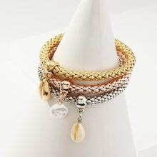3Pcs/Set Women Cowrie Shell Faux Pearl Charm Popcorn Chain Bangle Bracelet Fashion vintage faux pearl embellished body chain for women