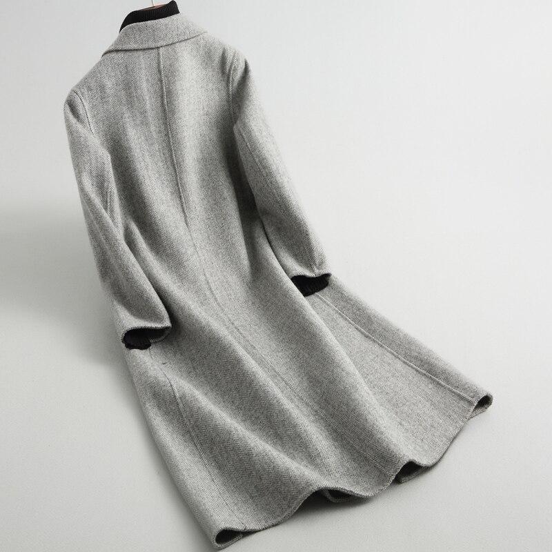 Laine Femme Npi Naturelle De Bonne Fourrure Automne Qualité Manteau 80321b Classique Hiver Femmes Réel Gris Vêtements Longue Conception RpqwY1z