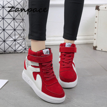 2019 Thick Platform Sneakers Casual Lace-Up Wedges High Heel Womens Shoes Outdoor Black Red Platform Vulcanize Shoes Women 1