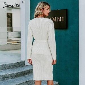 Image 4 - Simplee נשים סרוג סוודר שמלה אלגנטית סתיו חורף שתי חתיכות חצאית חליפת לבן ארוך שרוול נקבה קרדיגן midi שמלות