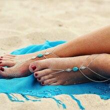 В летнем Стиле, Серебряные Лодыжке Браслет Для Женщин Цепь Ноги Ювелирные Изделия шарм Босиком Сандалии Ноги Браслет Браслеты Для Женщин 2016