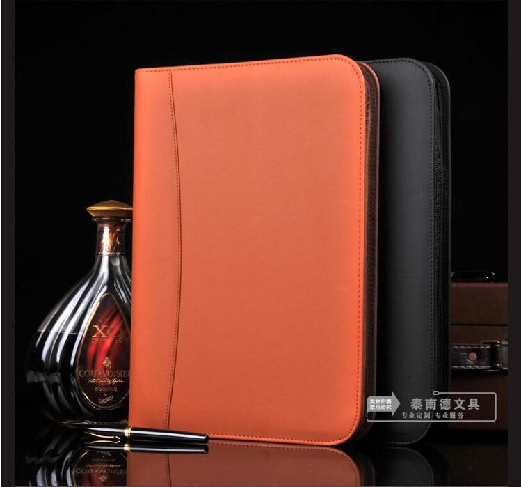 Marque A4 cuir zipper fichier manager sac a4 document dossier fichiers anneau classeur calculatrice poche affaires voyage conférence W010