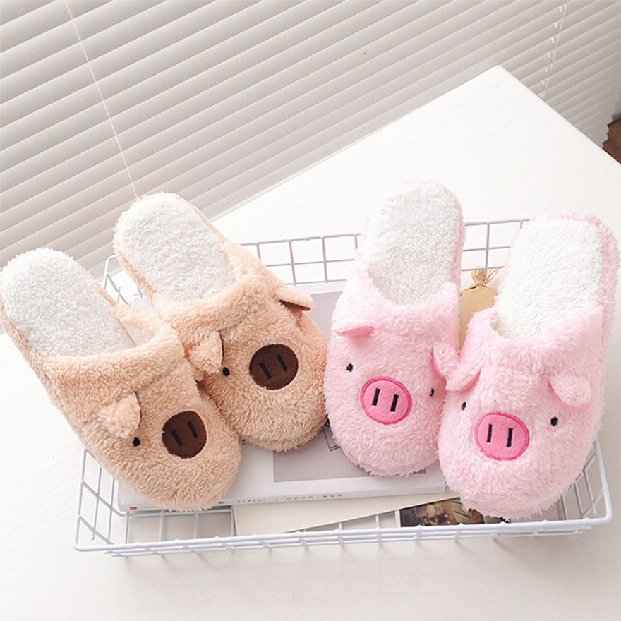 Sagace Women Girls 2018 Lovely Pig Home Floor Soft Stripe Slippers Female Shoes 36-40 pink&coffee wholesale MAY 16 acrylic pink lollipop lovely