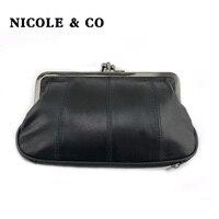 Женский кошелек из натуральной кожи NICOLE & CO, кошелек из овчины с металлической застежкой и отделением для карт, маленькая сумка на молнии
