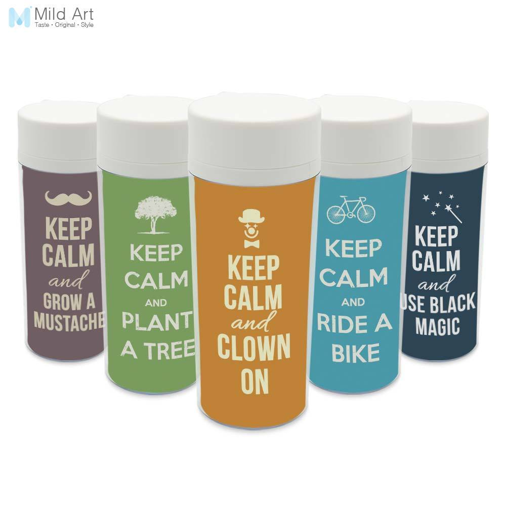 Personalized Modern Wide ,Mouth BPA Free With Lid Clear Plastic Insulated Minimalist Quote Keep Calm Water Bottle 300ml Gift