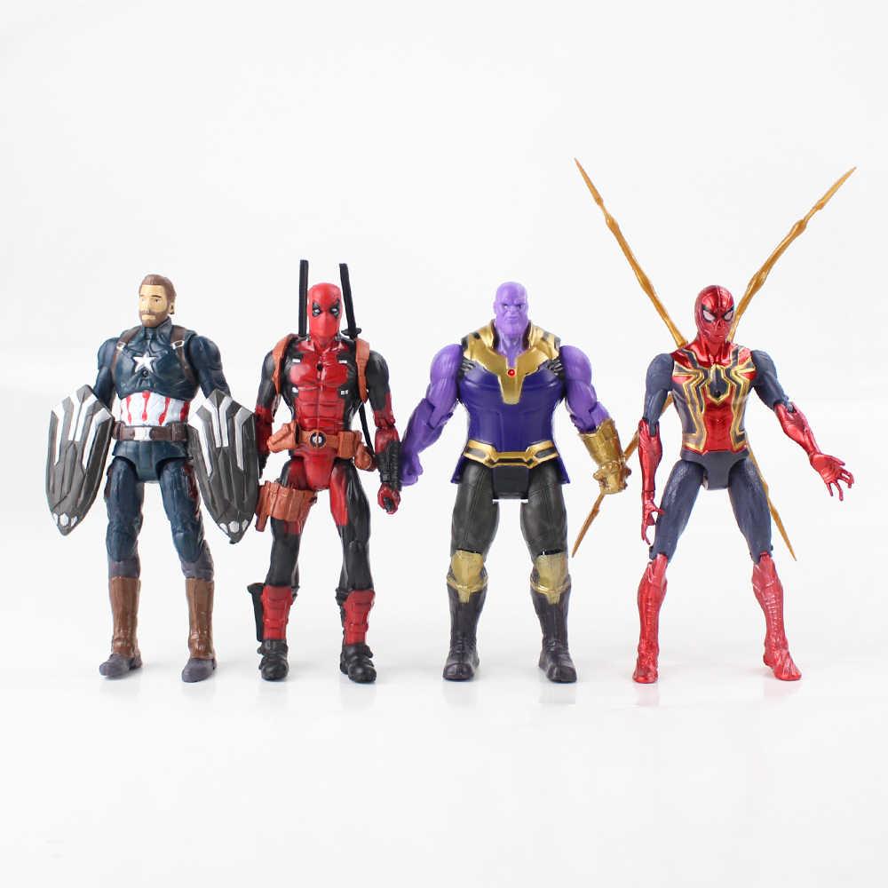 7 pçs/lote 17 centímetros Vingadores homem de Ferro Thor Capitão América Deadpool Superhero Spiderman Venom PVC Modelo Figura Brinquedos com Luz LED boneca
