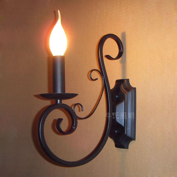 1 pcs Entrance Wrought Iron Candle Wall Lamp Mediterranean sea Aisle Dining Room Bedroom black blue