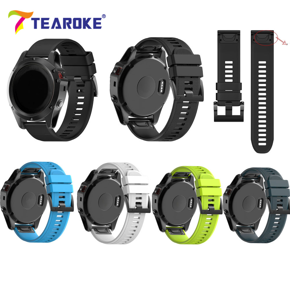TEAROKE 11 Colors Silicone Soft Watchband for Garmin fenix 3 HR fenix 5X GPS Watch Quick Release Replacement Bracelet Strap 26mm 22mm woven nylon strap replacement quick release easy fit band for garmin fenix 5 forerunner935 approach s60