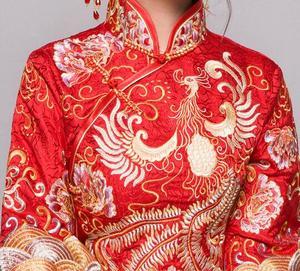 Image 5 - אדום בתוספת גודל 4XL 5XL 6XL הכלה שמלת חתונה שמלת רטרו שמלת Cheongsam הסיני שמלת הכלה טוסט בגדים ארוך סעיף