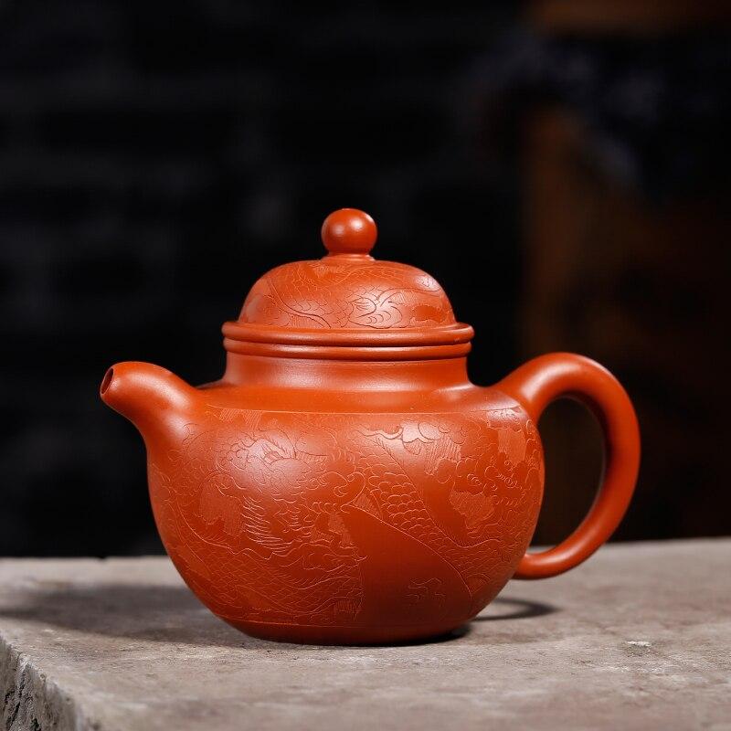 240 ML Yixing patrón Vintage auténtica tetera de arcilla púrpura todos los filtros hechos a mano Zisha tetera de té negro Raw mineral dhongpao olla regalo - 3