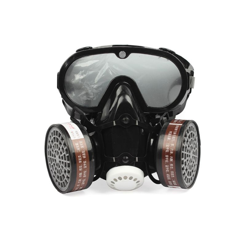 2 In 1 Industrial Dustproof Mask Anti-dust Anti-toxin Goggle Eyes Nose Mouth Protection Respirator Gas Mask Safety Chemical
