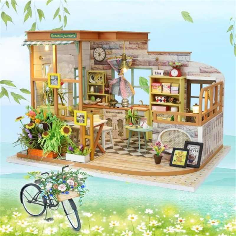 DIY بيت الدمية مع الأثاث الأطفال الكبار مصغرة خشبية رومانسية دمية مجسم لمنزل بناء أطقم دمية لعبة