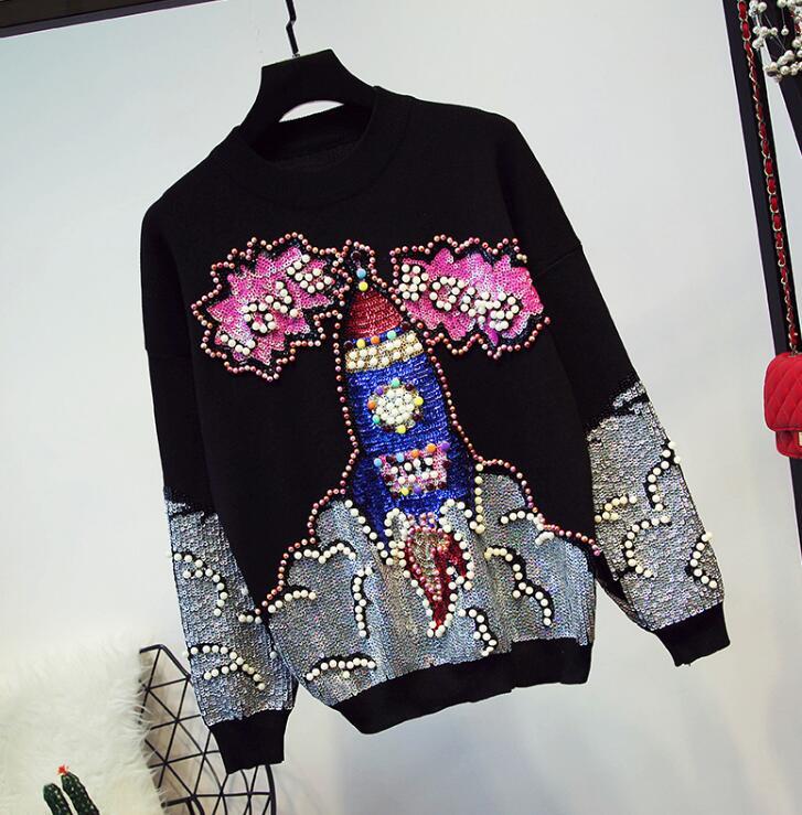 Femmes 2018 gris Manches Nouveau Pull Lourd De Longues Pantalon Noir À D'hiver Automne Tricoté Paillettes Costume Chandail Casual Pièces Et Deux XBWXz