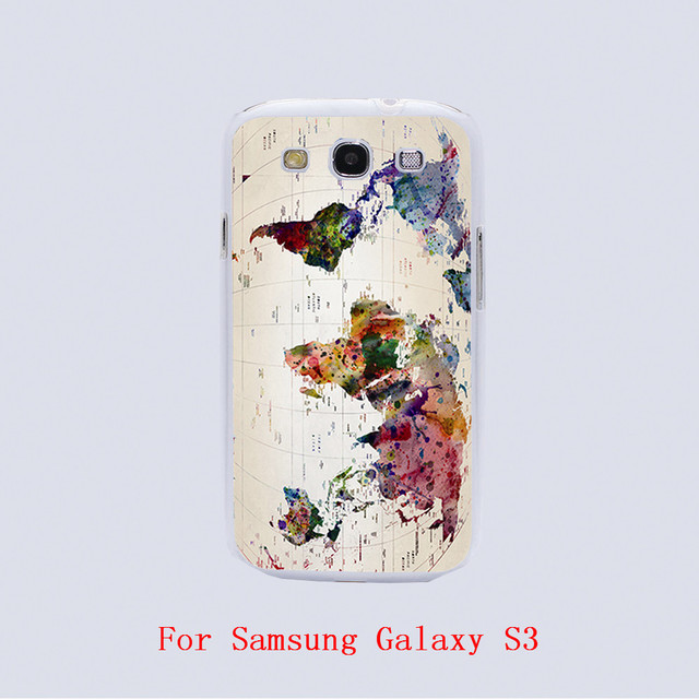 Color World Map Design White Skin Phone Cover Cases For Samsung