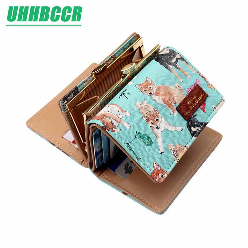 Женский кошелек UHHBCCR, короткие женские кошельки с вышивкой и милым животным узором, розовые, зеленые, черные, синие женские кошельки и кошельки