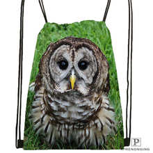 Custom owl@01-Drawstring Backpack Bag Cute Daypack Kids Satchel (Black Back) 31x40cm#180611-03-133