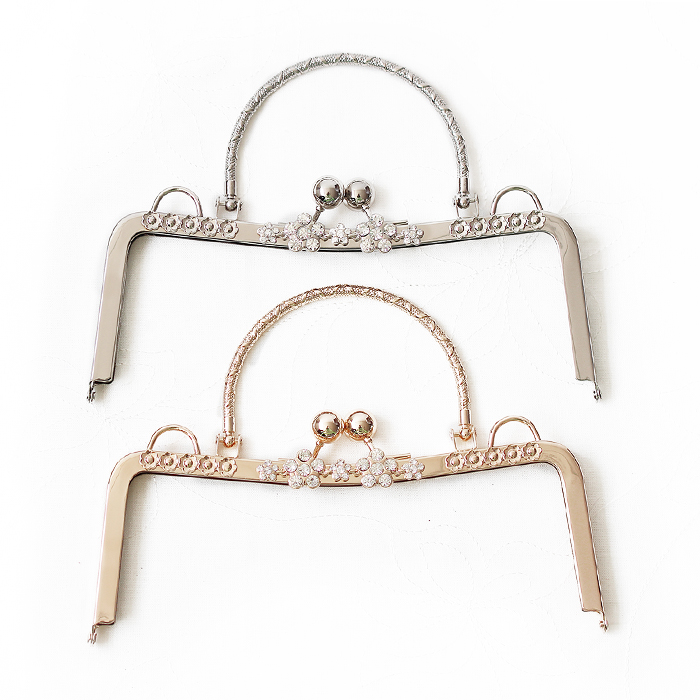 10 pcs per Lot 23 CM Silver Gold Color Metal Purse Frame With Crystal On Surface Kiss-lock Metal Handle Fashion Metal Bag Frame