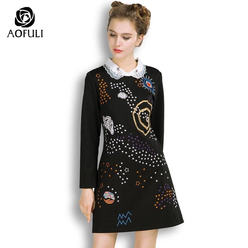 AOFULI S- 3xl 4xl 5xl Women Galaxy Embroidery Dress With Double Layers  Collar Long Sleeve Above Knee Length Spring Dress 3582 c74a4c8eba2b