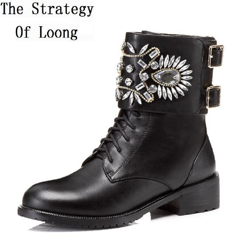 Women Spring Autumn Winter Flats Genuine Leather Buckle Crystal Lace Up Round Toe Fashion Ankle Boots Plus Size 35-40 Short Boot цены онлайн