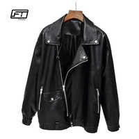 Fitaylor Women 2019 Faux Leather Jacket Spring Autumn Casual Loose Punk Leather Coat Soft PU Motorcycle Biker Jacket