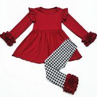 卸売秋衣装卸売キッズ女の子綿ブルゴーニュガールドレス赤ちゃん千鳥フリルレギンス子供ブティック