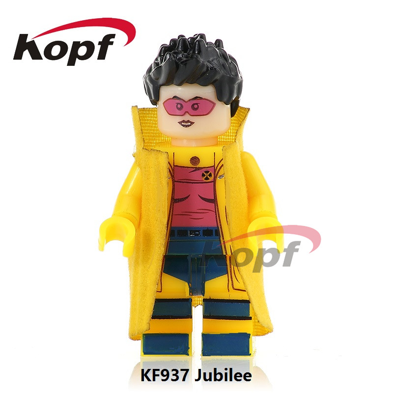 Single Sale Super Heroes Custom Printed Jubilee Spiderman Scary Mask Chuck Norrie X-Men Building Blocks Children Gift Toys KF937 building blocks super heroes back to the future doc brown and marty mcfly with skateboard wolverine toys for children gift kf197