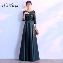 It's YiiYa Evening Dress Shining Sequins Illusion Floor length Party Gowns Vintage O-neck Half Sleeve Formal Prom Dresses E123