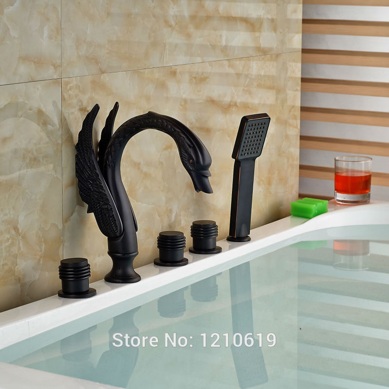 Newly Euro Style Shower Tub Faucet Set w/ Hand Sprayer Oil-rubbed Bronze Swan Bathtub Mixer Faucet Tap