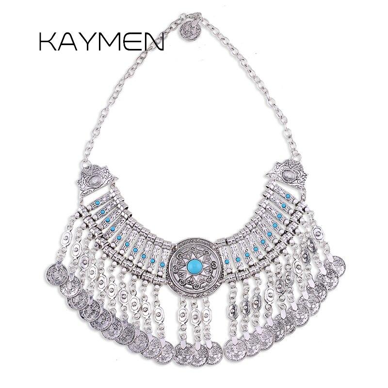 Kaymen nouveautés bohême mode collier pour femmes Antqiue argent plaqué Vintage déclaration pièce collier Bijou NK-01467