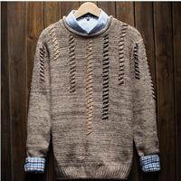 Vintage Autumn New Fashion O Neck Men Sweater Hot Men's Pullover Sweaters Casual Slim Fit Wool Sweater Free Shipping 2018