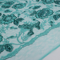 High end custom mint green mesh embroidered sequin fabric for for summer dress tissus au metre telas shabby chic tecido vestido