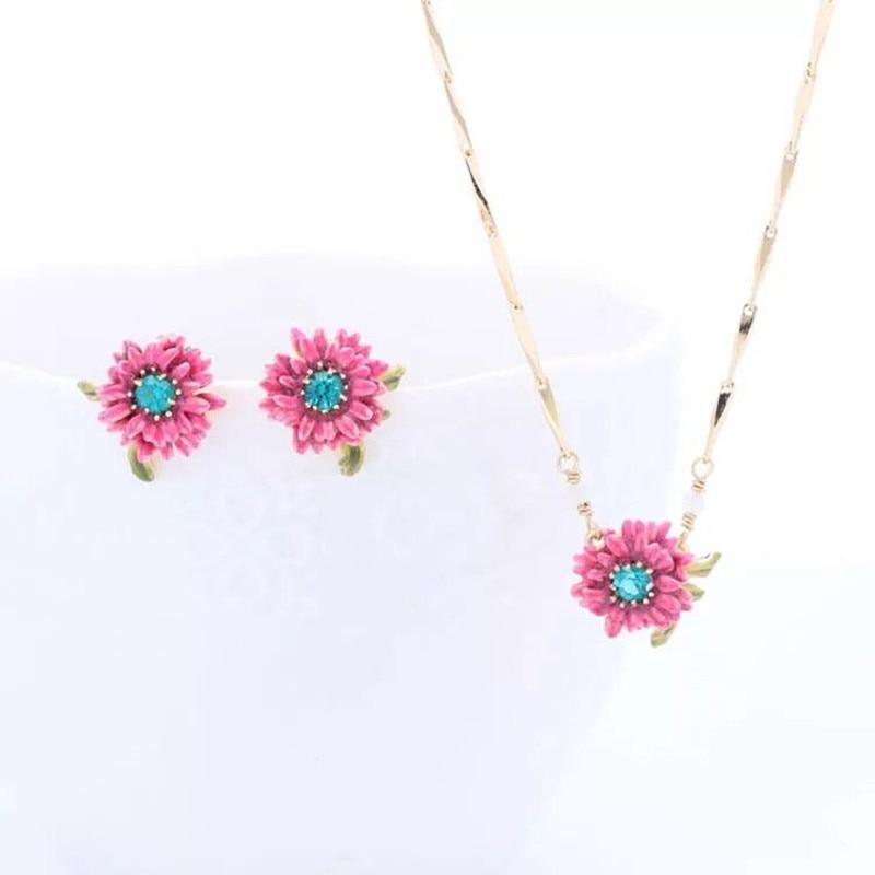 Amybaby Enamel Glaze Purple Chrysanthemum Necklace Stud Earring Jewelry Party