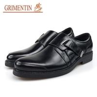 GRIMENTIN 2019 Newest Brand Dress Mens Shoes Genuine Leather Black Buckle Strap Business Wedding Men Shoes