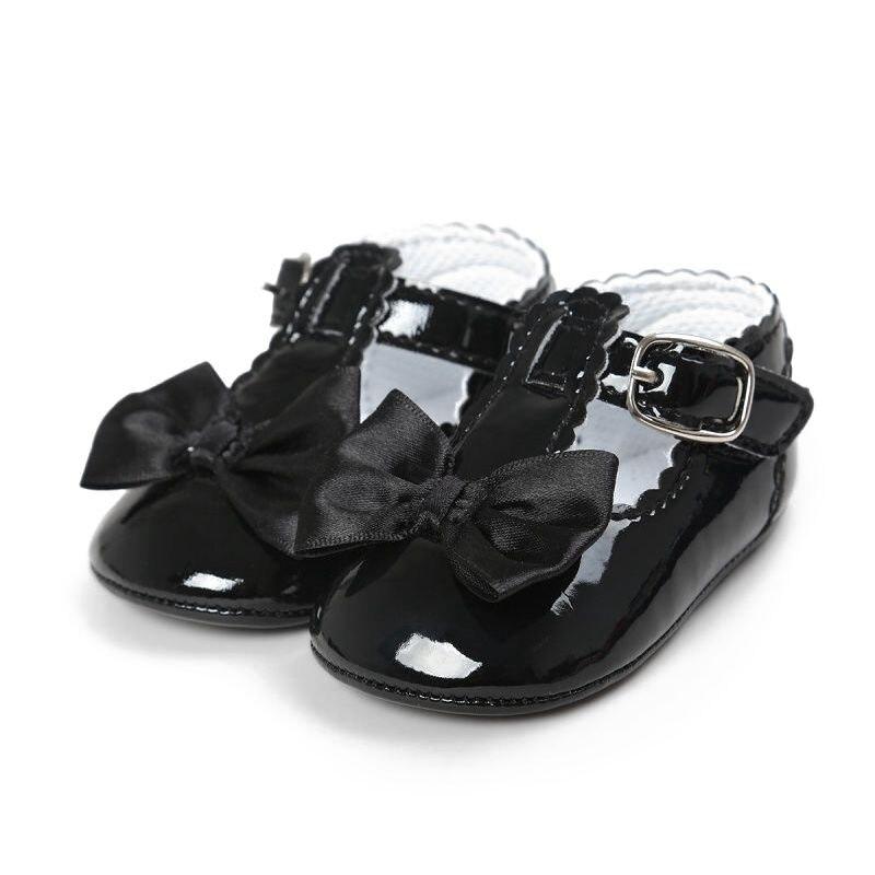 KEOL Best Sale Newborn Baby Girl Bow Anti-slip Crib Shoes Soft Sole Sneakers Prewalker 0-6M Deep Blue S