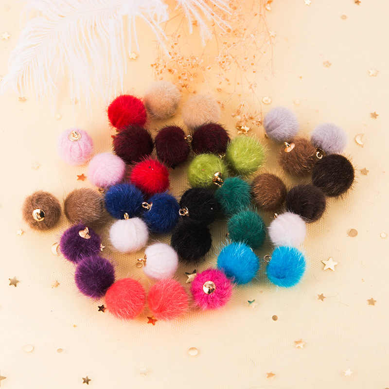 Aiovlo 24pcs/lot 15mm Plush Fur Covered Ball Beads Charms DIY Pompom Beads Pendant for Necklace Bracelet Earring Jewelry Making