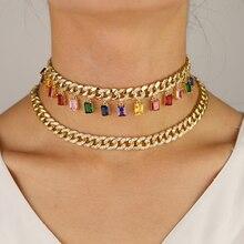 Oro riempito cz miami cuban link catena con arcobaleno baguette cz di goccia di fascino Rock hiphop delle donne della collana del choker
