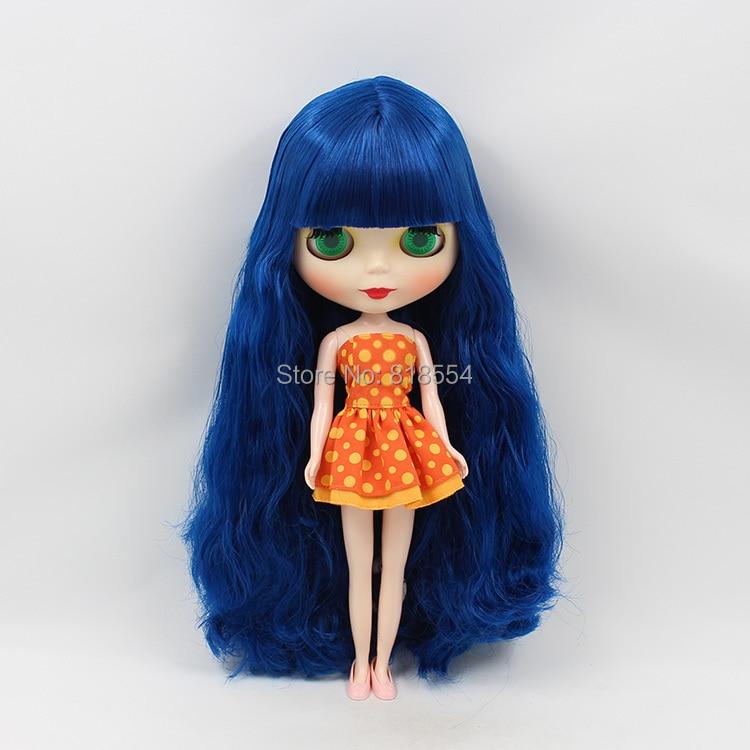 Обнаженная Блайт кукла B женский большие глаза темно-синий длинные волосы макияж куклы для изменения лица diy куклы для девочек