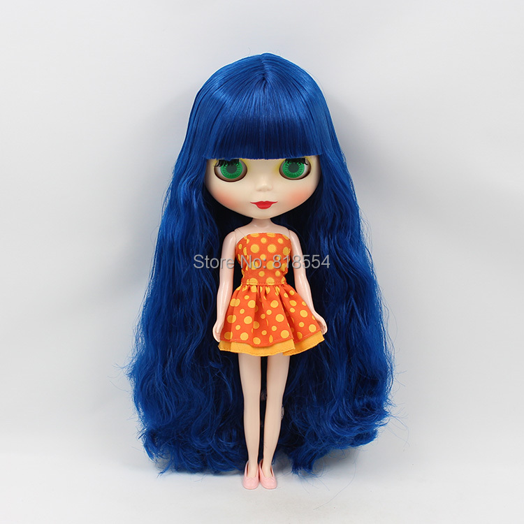 Nude Blyth doll B female big eyes dark blue long hair makeup doll for face change diy dolls for girls