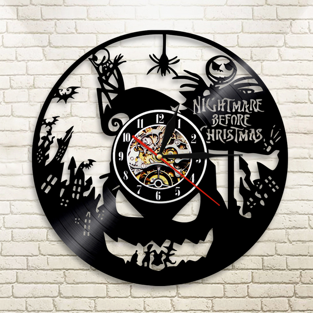 1piece nightmare before christmas art handmade vintage vinyl clock 1piece nightmare before christmas art handmade vintage vinyl clock lp wall clock silhouette led light living mozeypictures Images
