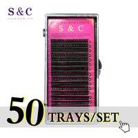 S & C 50 Trasy/set cao chất lượng mở rộng lông mi chồn, giả mở rộng lông mi, lông mi cá nhân, thiên nhiên lông mi