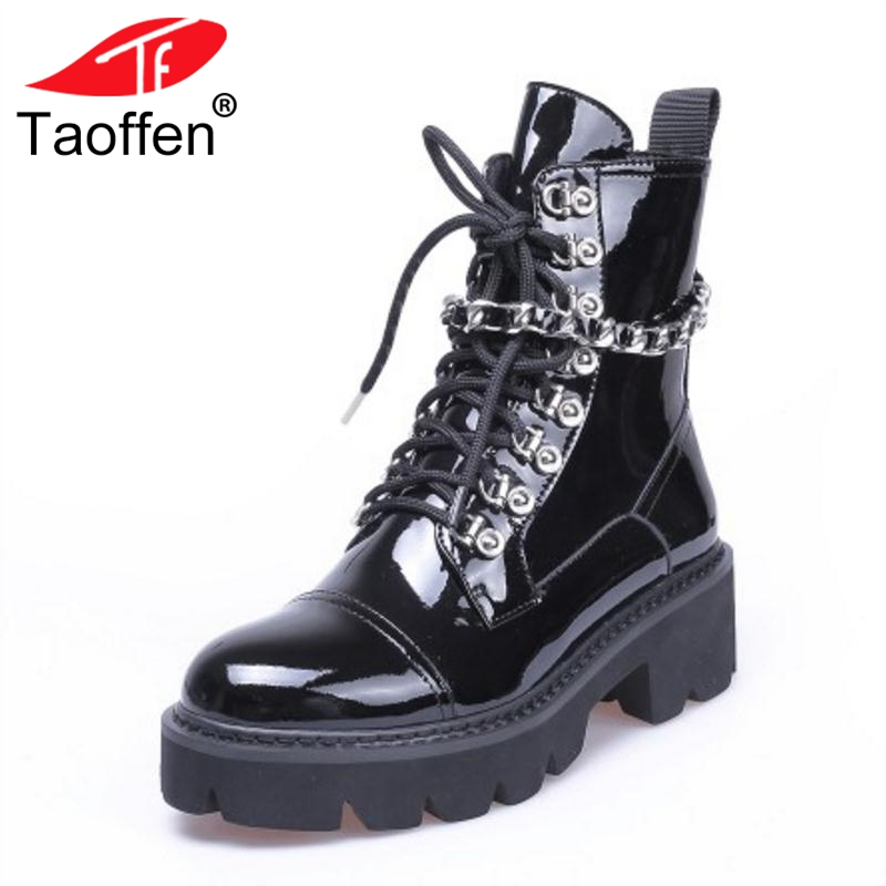 TAOFFEN Women High Heels Ankle Boots Winter Lace Up Patent Leather Platform Shoes Woman Designer Gothic Boots Size 34-39 rasmeup genuine suede leather women s oxford shoes 2018 spring women lace up flat sneakers woman boat flats moccasins shoes