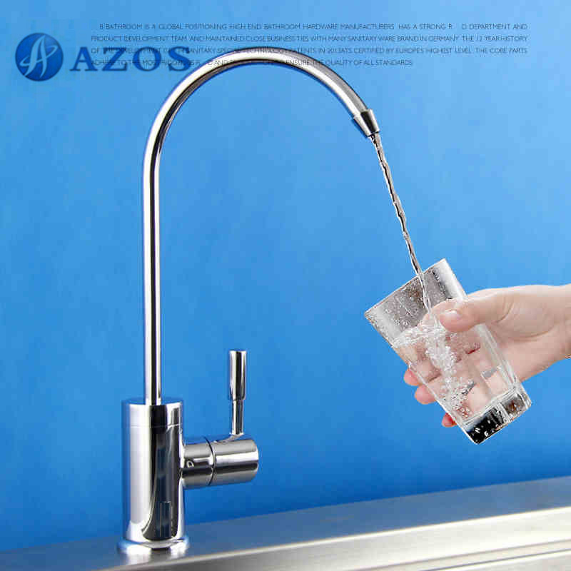 Kitchen Sink Faucet Water Purification Filter Tap Swivel Spout Brass Chrome Polish Single Cold Deck Mount