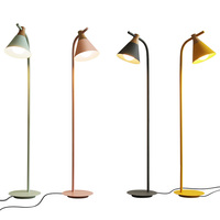 Nordic Classic Creative Led Floor Lamp Living Room Bedroom Study Desk Macaron Wrought Iron Vertical Carpet Floor Lights