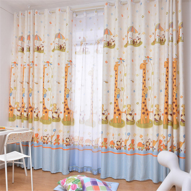 new kids room curtain fabric living room sheer curtain giraffe animal cartoon curtain sheer curtains