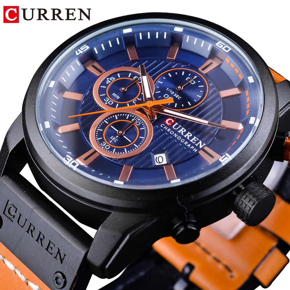CURREN Blue Fashion 3 Dial Orange Genuine Leather Belt Calendar Display Mens Military Quartz Sport Wrist Watch Top Brand Luxury все цены