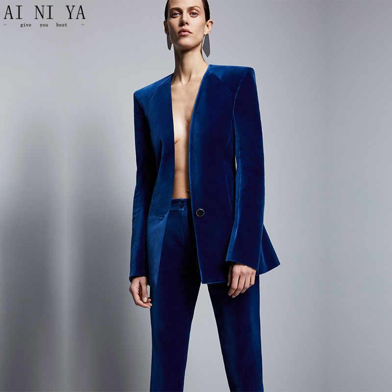 07e39bfc3 Chaqueta de terciopelo azul real + Pantalones formales elegantes traje de  negocios para mujer ajustado ajuste